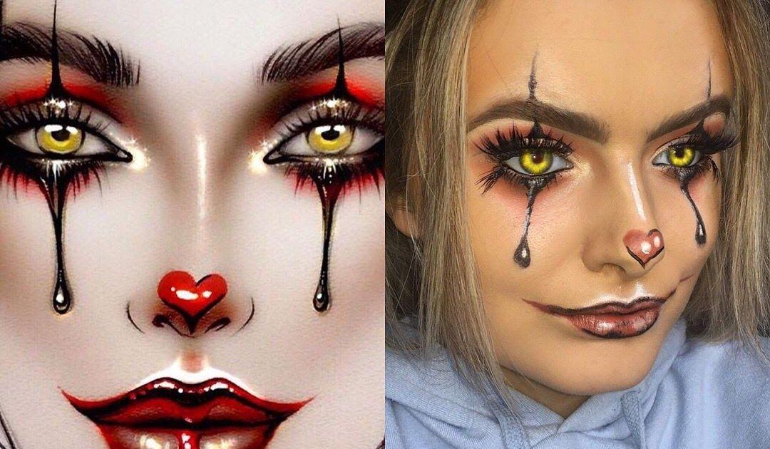 Todays Post Is Easy Step By Step Halloween Eye Makeup Tutorials Heres 4 Easy Last Minute H In 2020 Halloween Makeup Clown Cute Halloween Makeup Halloween Makeup Looks