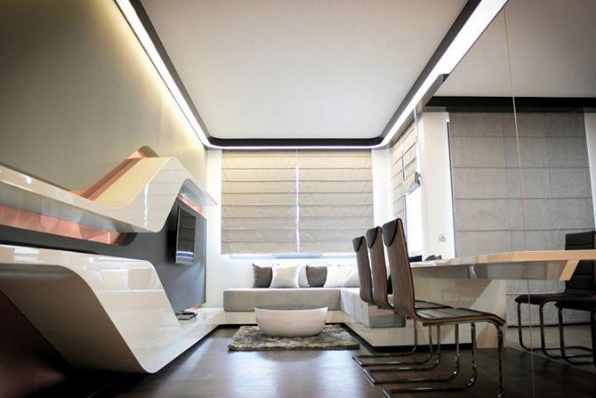 20 inspiring retro futuristic interiors Futuristic interior - industrial look wohnzimmer