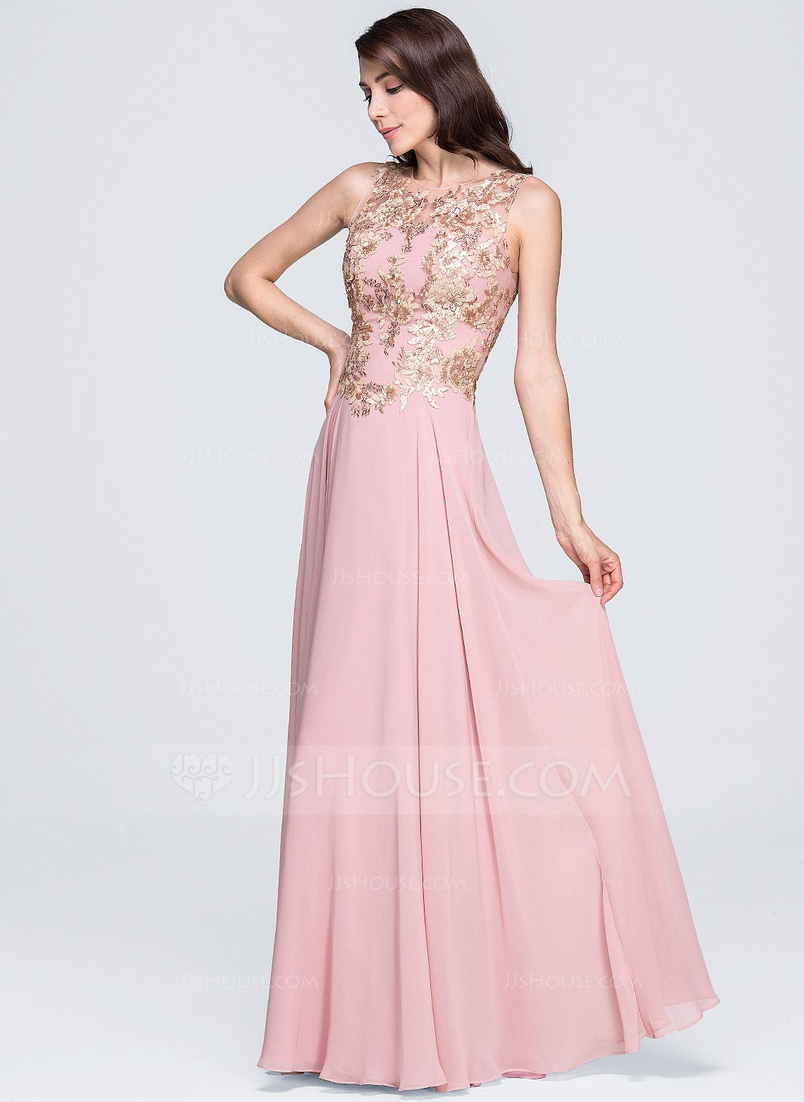 42c778fd3 A-Line Princess Scoop Neck Floor-Length Appliques Lace Sequins Zipper Up  Regular Straps Sleeveless No Other Colors Spring Summer General Plus  Chiffon ...