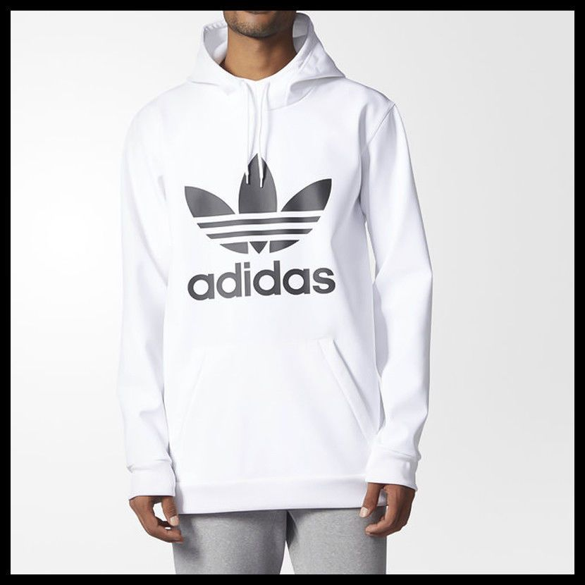 4b1ca1d3e New Adidas Mens White Black Team Tech Fleece Pullover Hoodie BR7945 Size  Large  adidas  Hoodie