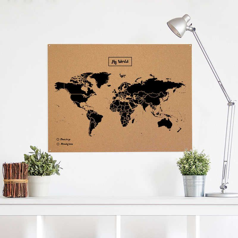 Mapamundi de Corcho   Woody Map Natural XL | Nuevos artículos