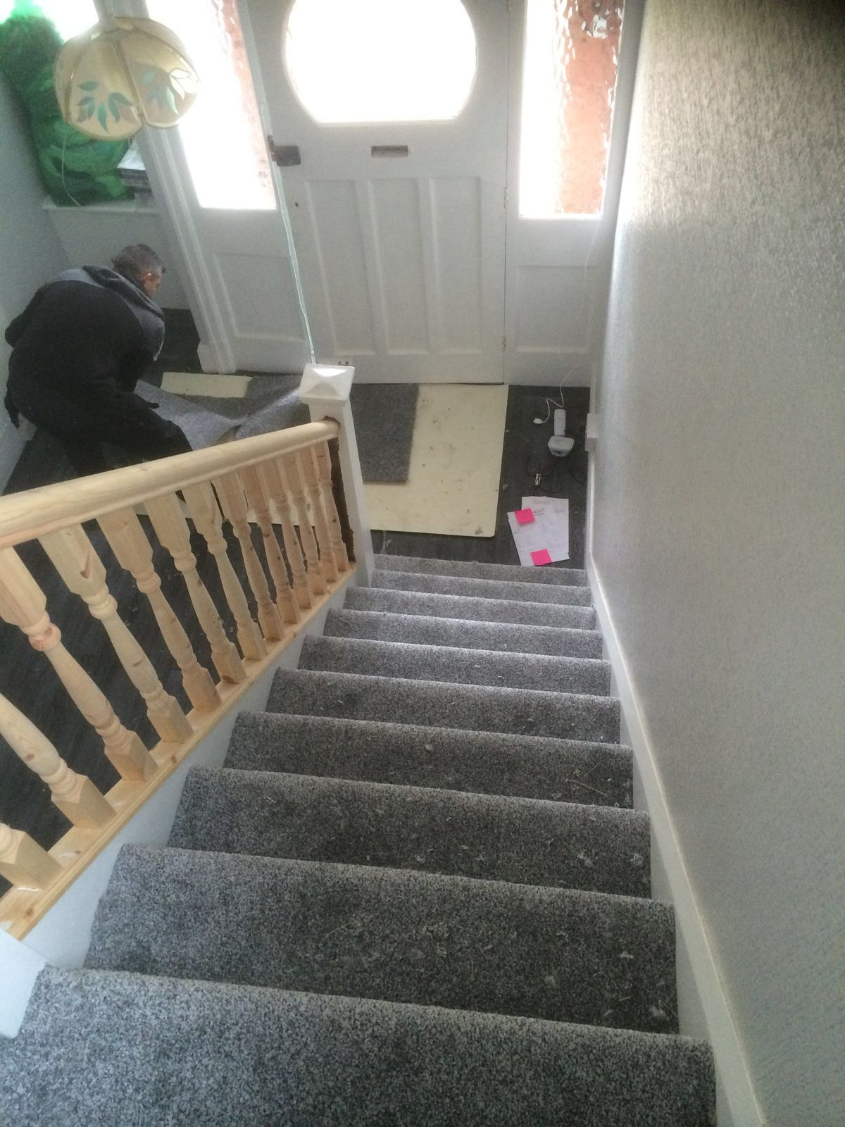 Best Grey Carpet Fitted To Stairs In Stockport Stairs 400 x 300