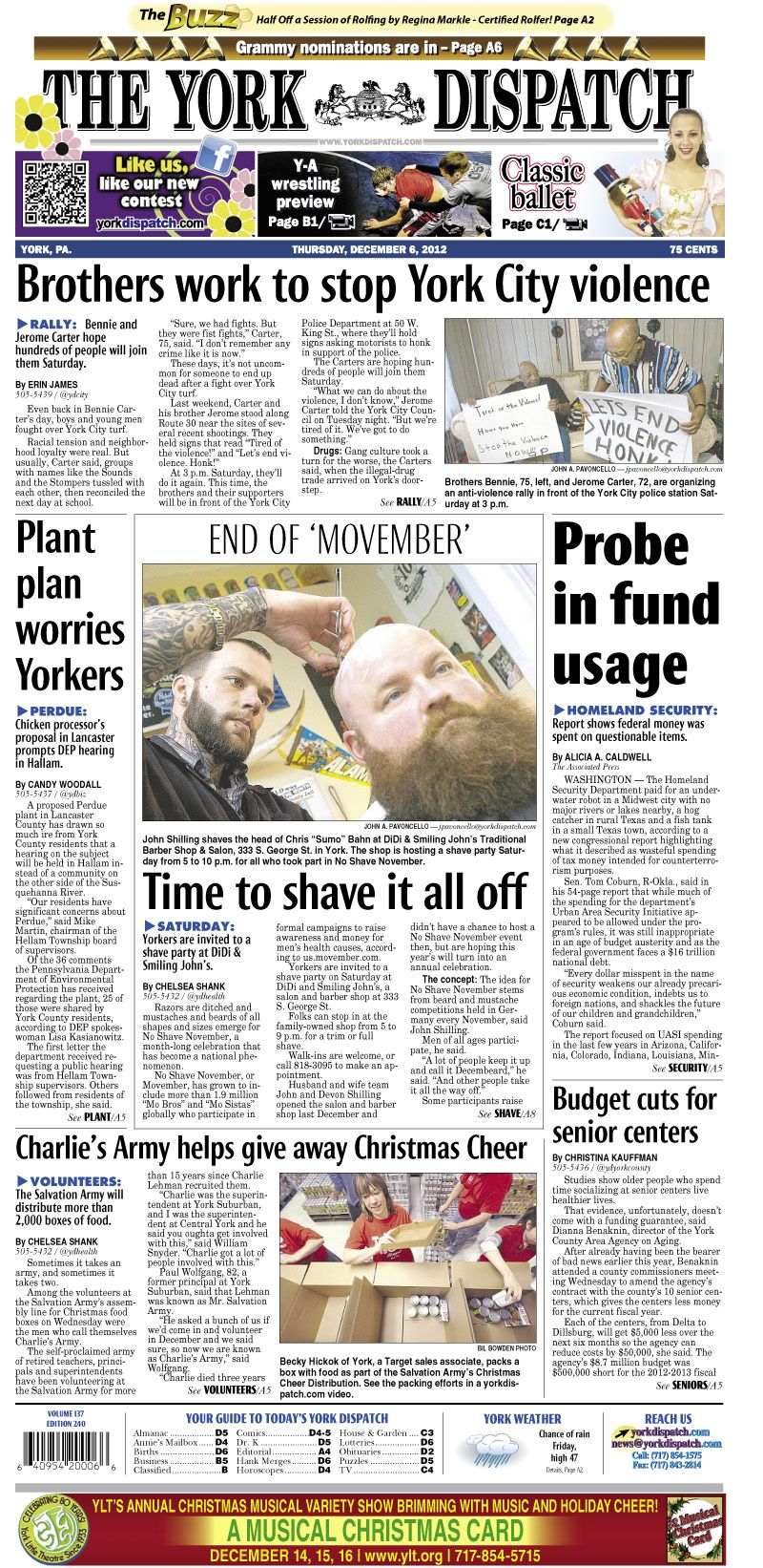 York Dispatch front page for Dec. 6, 2012