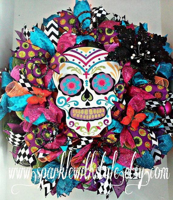 day of the dead wreath sugar skull da de muertos halloween wreath day of the dead decor halloween decoration door wreath