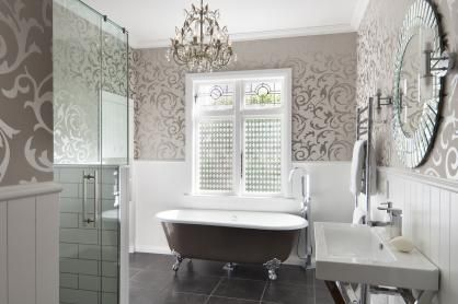 This bathroom reflects a French Country design influence – from the ...