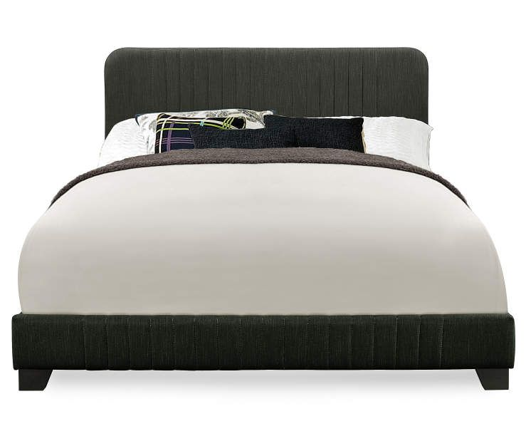 Steel Gray Mid Century Upholstered Queen Bed Upholstered King