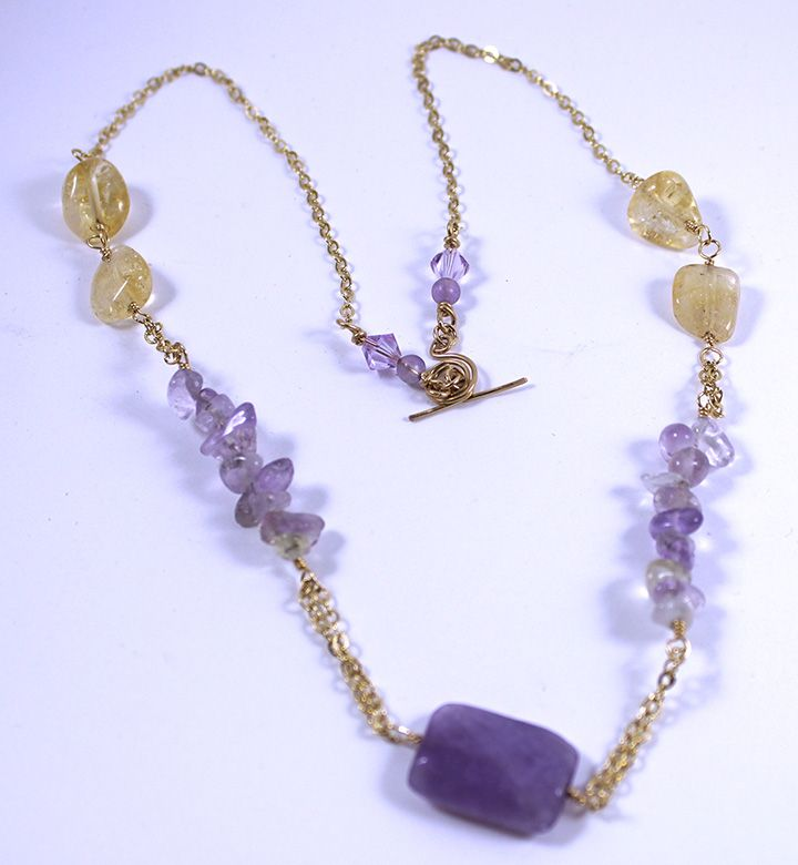 Beaded Necklace, Amethyst, Swarovski Crystal, Citrine, all Gold ...