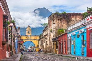 Antigua looking colorful with the beautiful volcano in the distance.