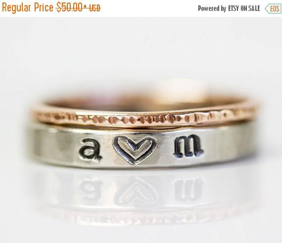 NO JOKE SALE Initials Ring / Personalized / Mothers Day Gift / Love Gift / Anniversary Gift / Wife Gift / Girlfriend Gift / Gift for Her / A by amywaltz #TrendingEtsy