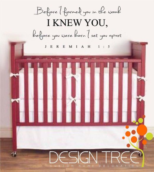 Amazon.com - BEFORE I FORMED YOU IN THE WOMB I KNEW YOU JEREMIAH 1:5 Vinyl wall quotes religious sayings scriptures home art decor decal MAT...