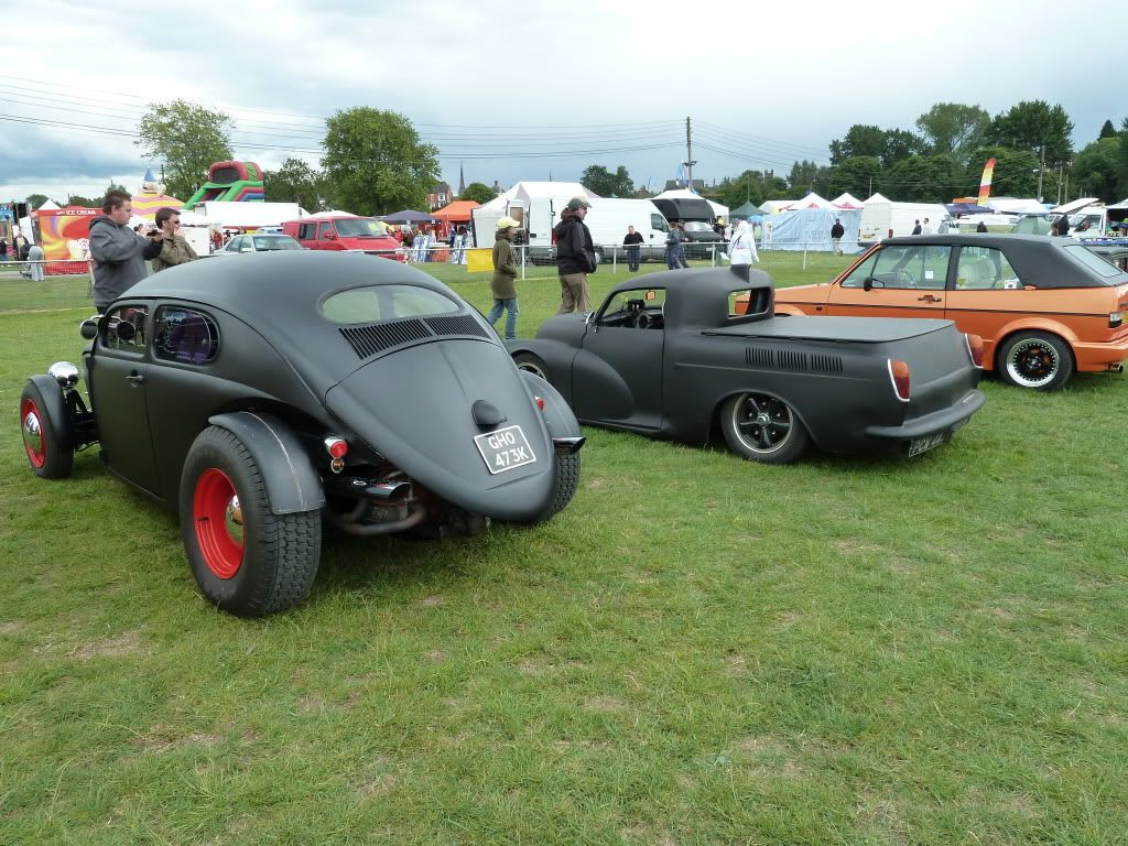 volksrods: the vw beetle is gorgeous, the middle car is a vw squareback with a morris minor front end grafted on.