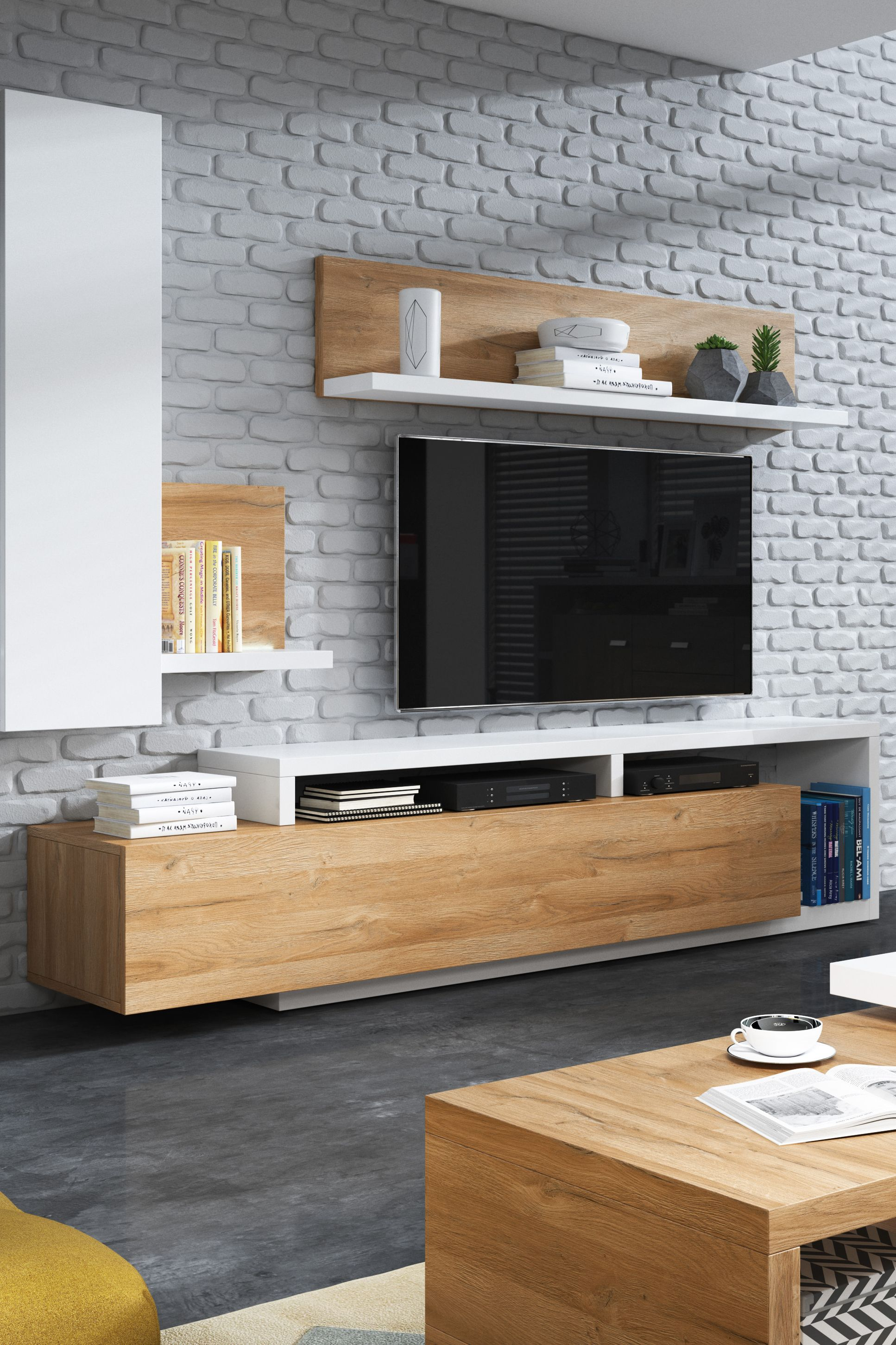 meuble tv hifi botswana 2 tiroirs blanc