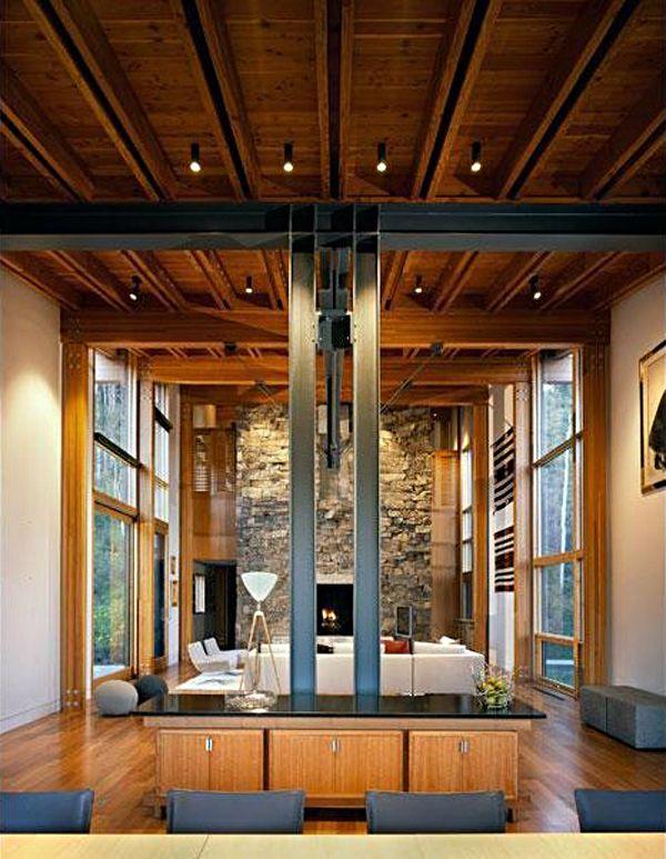 18 Modern Glass House Exterior Designs: Amazing Modern House With Glass Pool.Bohlin Cywinski