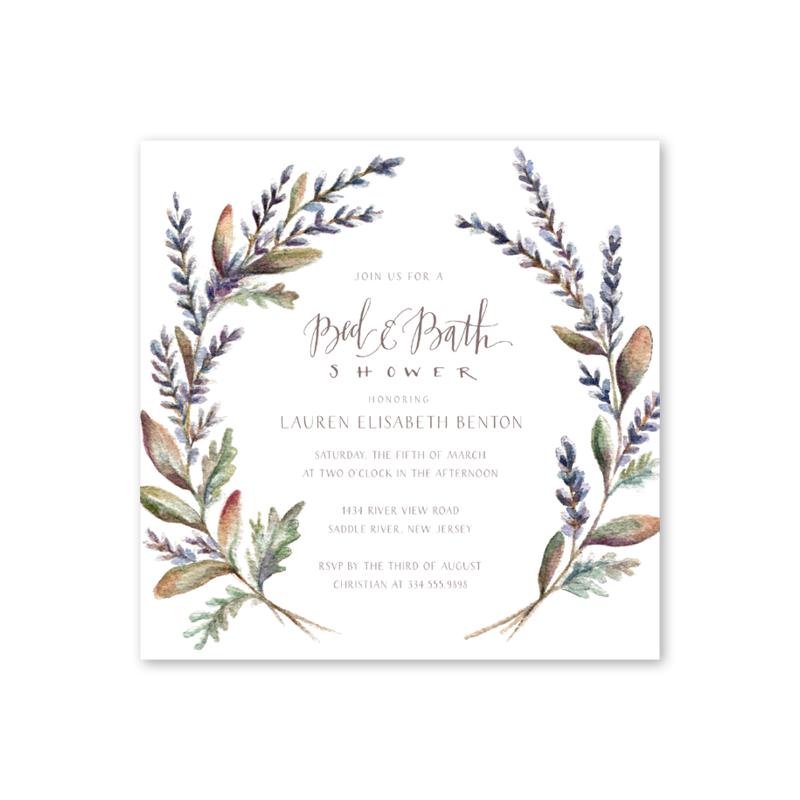 Lavender Wreath Shower Wedding shower invitations