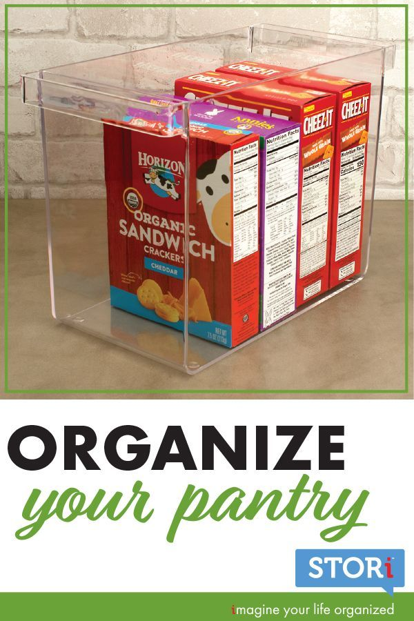 It's time to organize your pantry! Large pantry bins are the solution. This is a great kitchen organization idea. View pantry items on shelves, while they stay organized. Great pantry organization on a budget. A great kitchen organizing hack is these organizers are perfect to declutter kitchen cabinets and under the sink. Give your kitchen cabinets a makeover. Organize cans, boxes, pouches, and bottles. Affordable organizer for kitchen supplies available on Amazon Prime. Proudly made in the US #largepantryideas