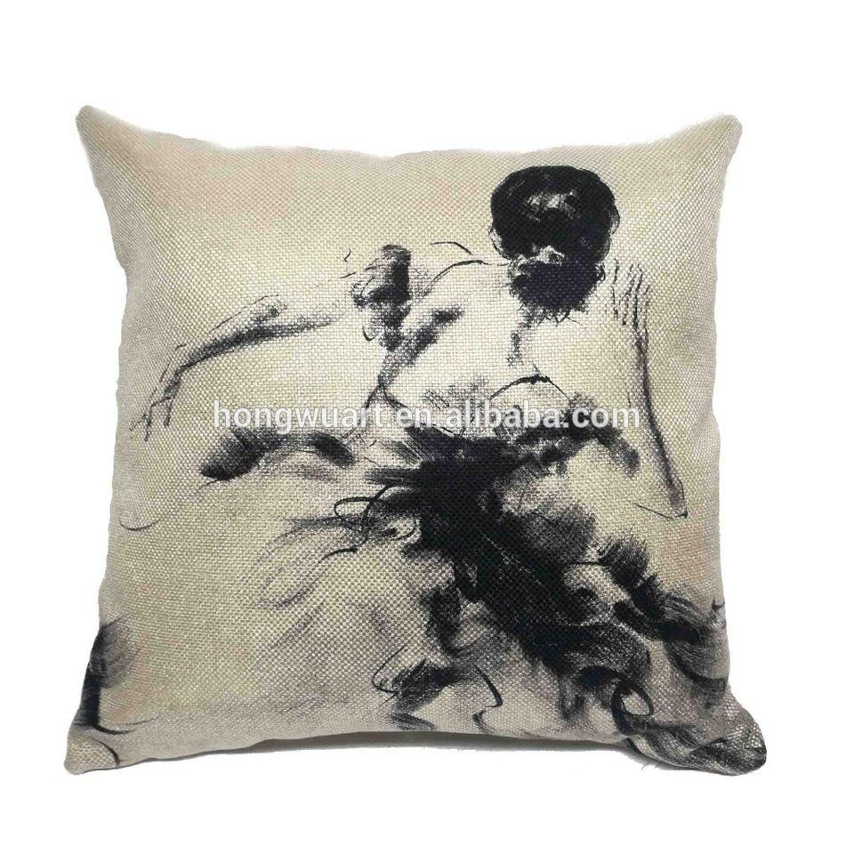 Wholesale Sofa Cushion Custom Black And White Ballet Print Cushion Cover