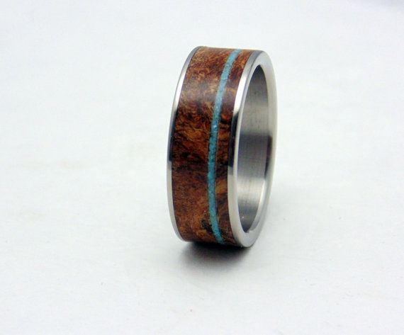 Mens Titanium and wood wedding band Teak burl wood and Turquoise
