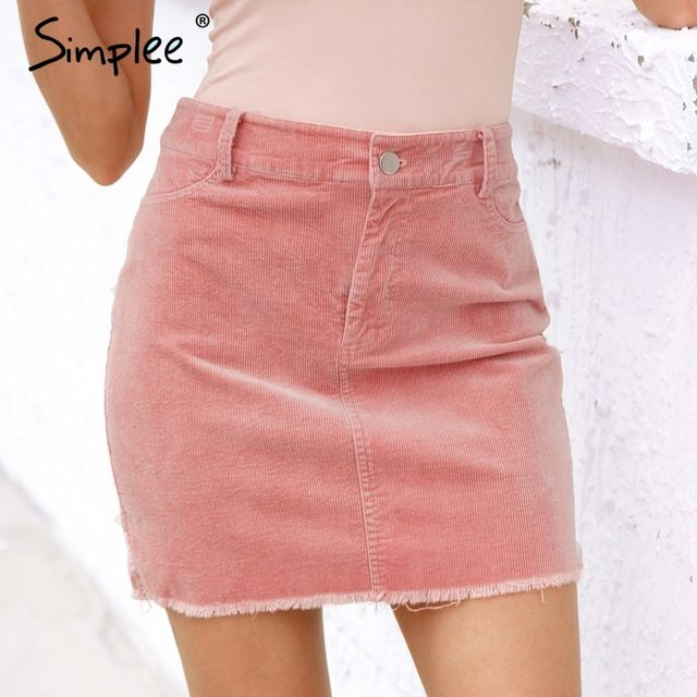 1b926db54d Simplee Vintage corduroy pink pencil skirt Fashion streetwear metal button  zipper short skirt 2017 New autumn mini skirts womens