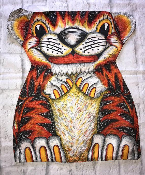 Vintage 70s Orange Tiger Fabric Panel Pillow Stuffed Animal Panel