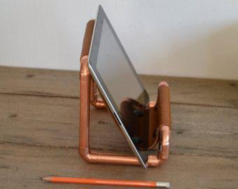 Koperen tablet stand lederen ipad stand tablet houder met bureau
