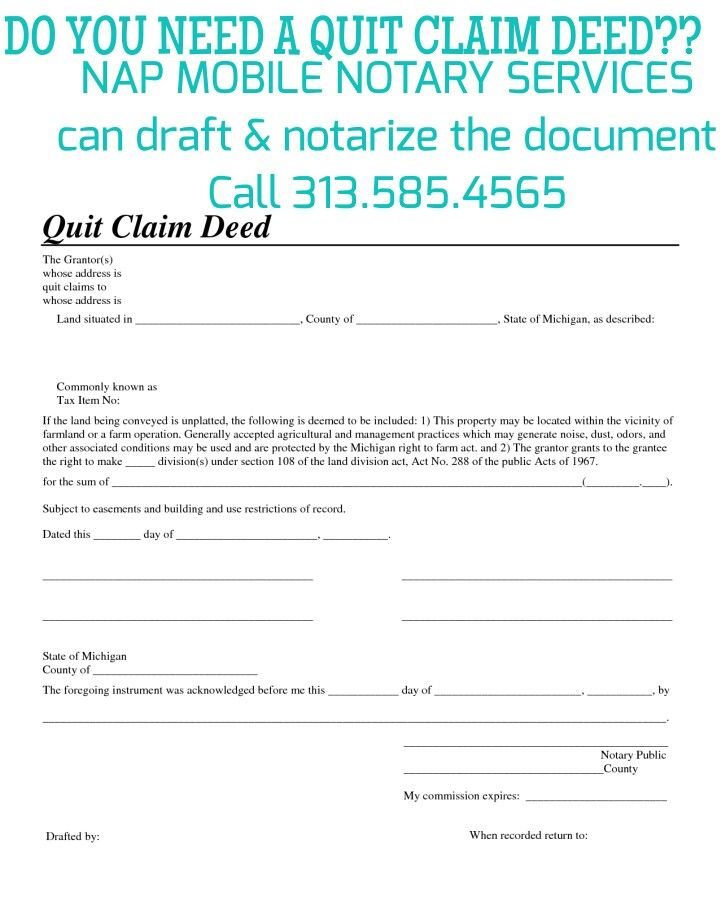 Need A Quit Claim Deed Notary Detroit   Notary