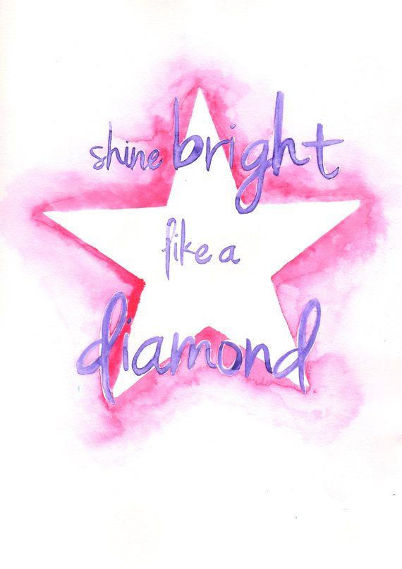Shine Bright Like A Diamond Watercolour Rhianna Song Lyrics Decor 5x7 Wall Art