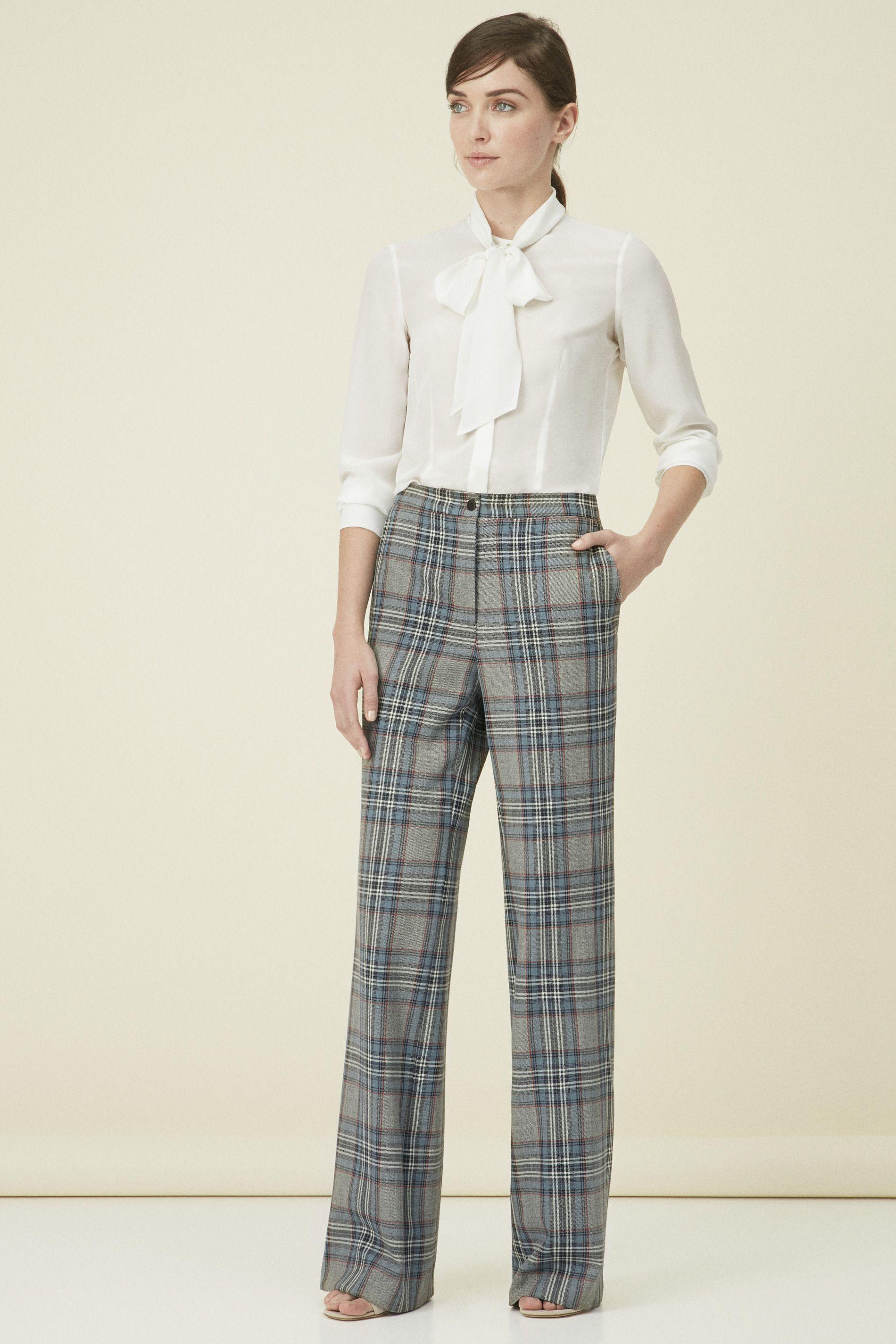 Pantalón Ancho Cuadro Gales Pantalones Mujer Purificación García Pantalon Ancho Mujer Pantalones Anchos Pantalones Mujer