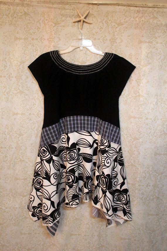 REVIVAL Women\'s Upcycled Boho Knit Shirt, Shabby Chic Plaid Romantic ...