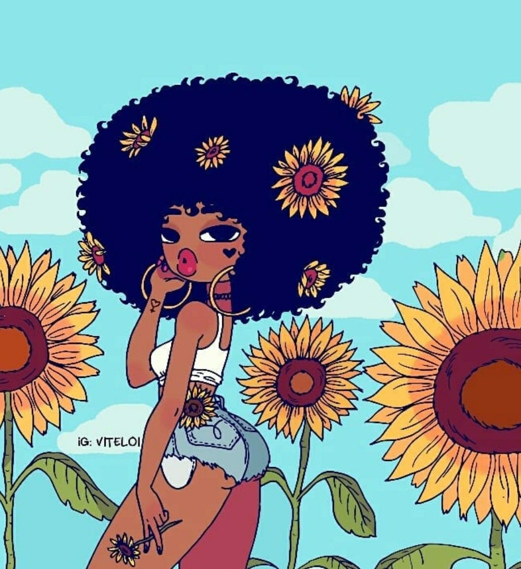 Flowers And Shorts Great Combo Babes Black Girl Cartoon Black Art Arte Black