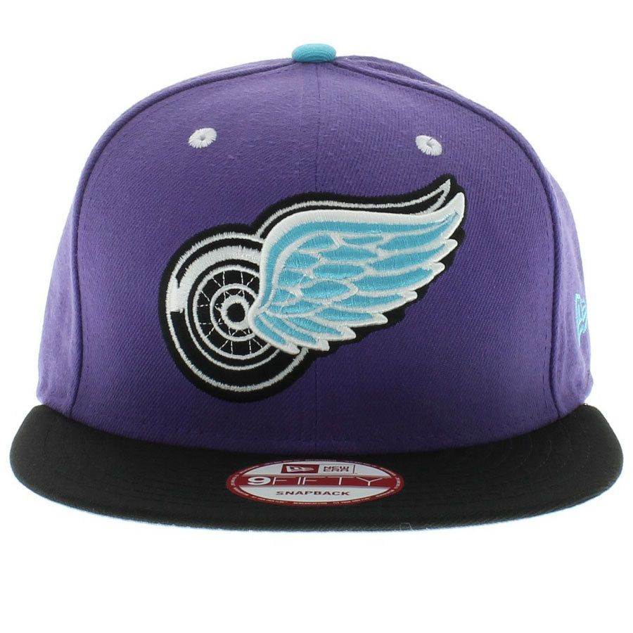 Detroit Redwings Light Purple Black Aqua Marine Snapback
