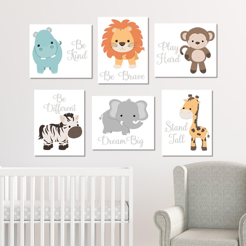 Zoo Animal Nursery Wall Art Zoo Animal Prints Or Canvas Baby | Etsy | Animal Wall Art Nursery, Baby Boy Nursery Decor, Zoo Animals Nursery