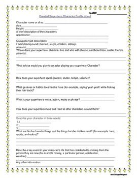 Super Hero Profile Sheet And Dialogue Writing Activity Create A Superhero Superheros Like Spiderman Are Cool This Worksheet Walks Students Throu