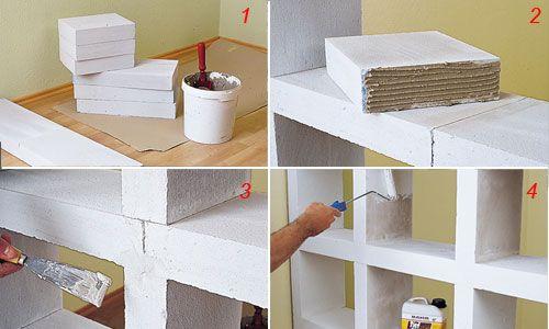 Costruire Mobili ~ Ecco come costruire uno scaffale di gasbeton con tante celle che