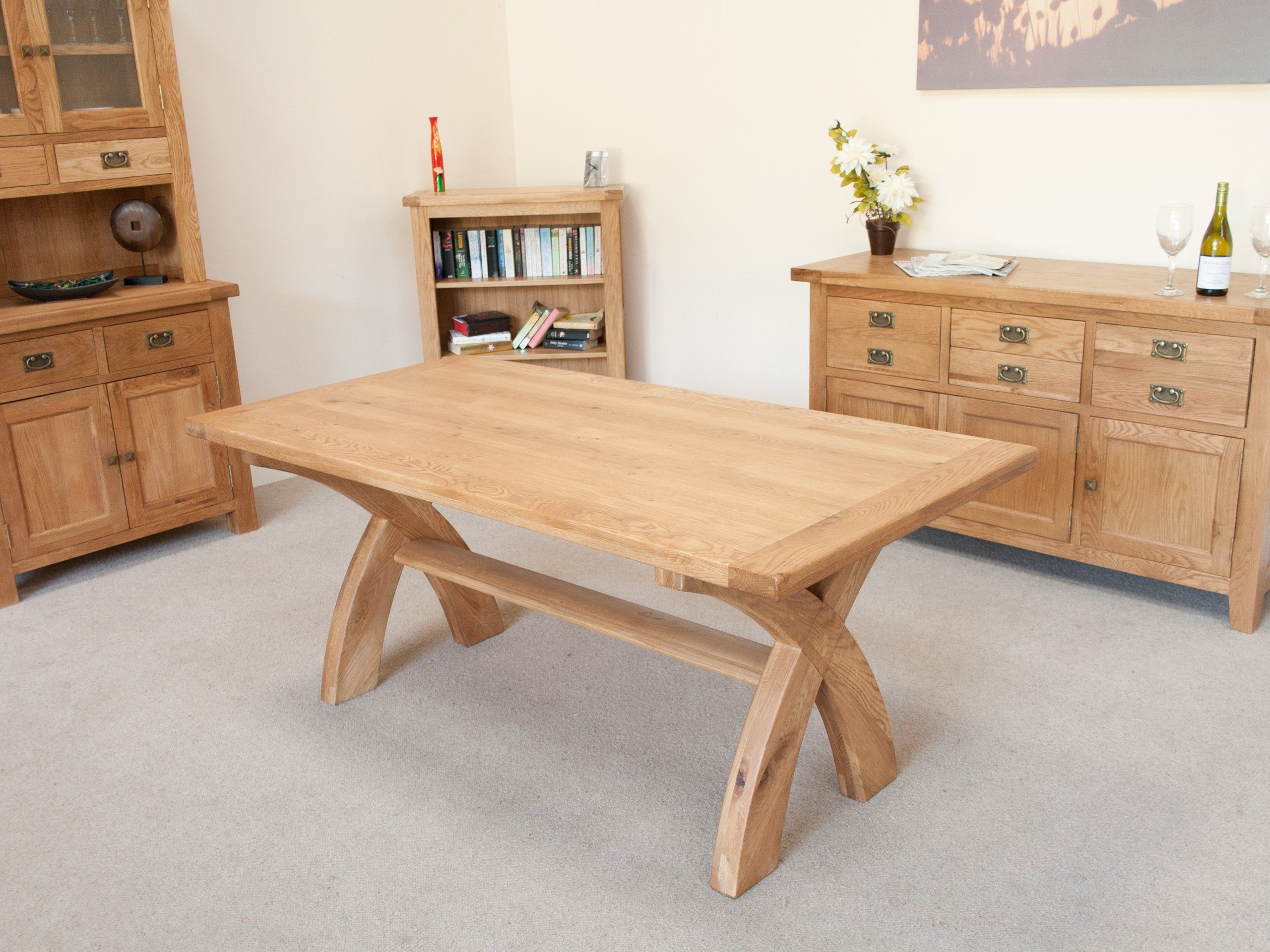 Country oak cross leg dining table 8 seater cross for Cross leg table plans