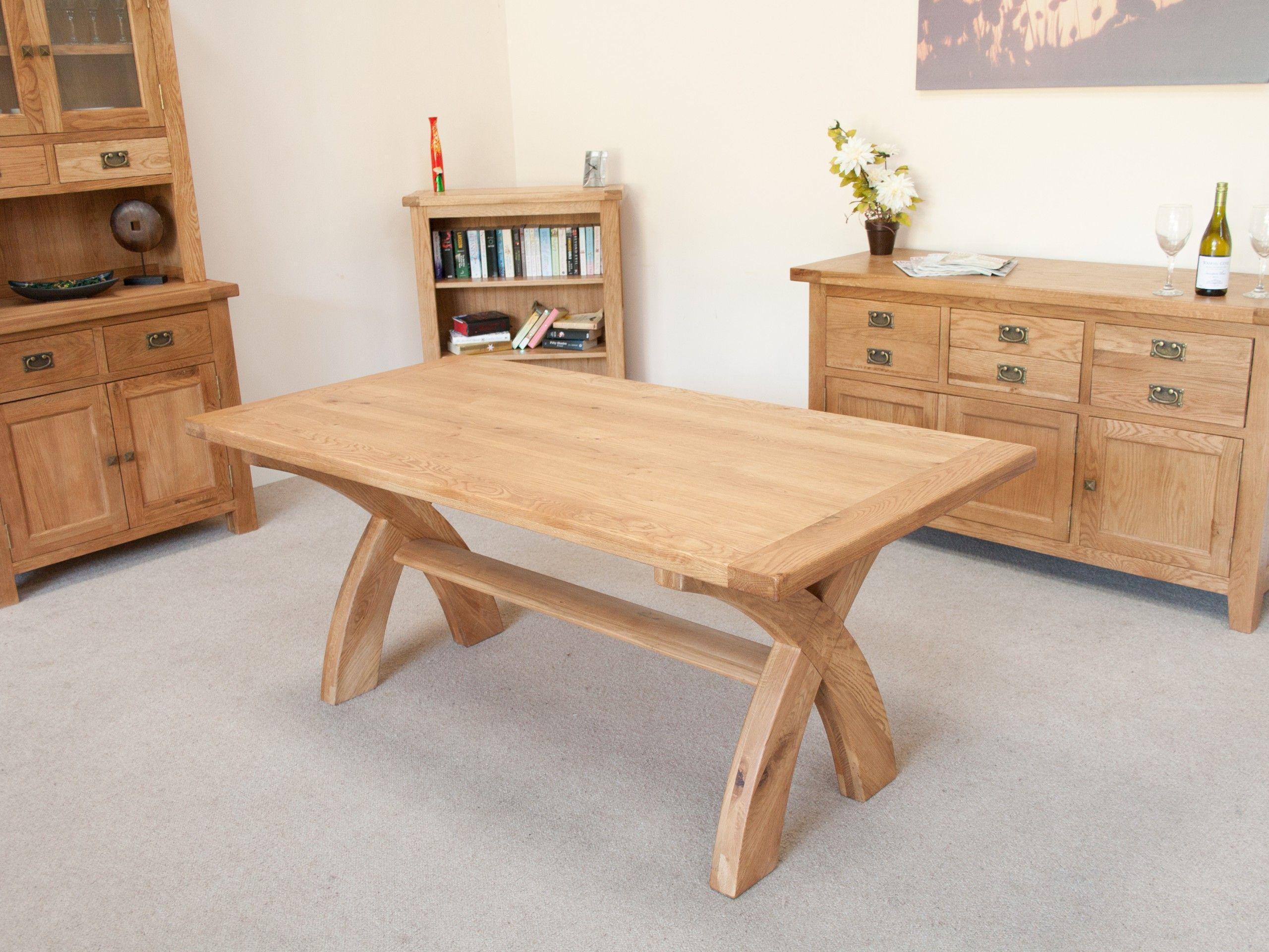1 8m Country Oak Cross Leg Dining Table 8 Seater Cross Leg Table