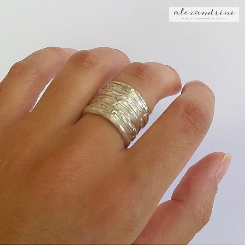 Chunky gold ring 18K Gold plated 925 sterling silver ring Minimal silver ring Textured wide band gold plated silver ring