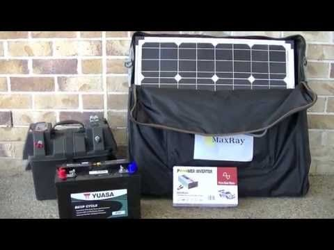 Portable Solar Panel Setup For Camping Or Caravan With Battery Power Battery Box And Power Inverter Solar Battery Charger Camping Power Portable Solar Panels