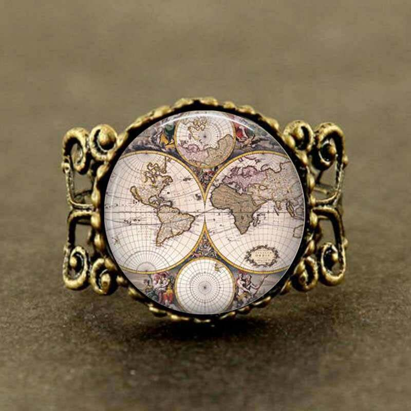 New 1pcslot 25mm 1 inch world map ring god jewelry glass dome art new 1pcslot 25mm 1 inch world map ring god jewelry glass dome gumiabroncs Gallery