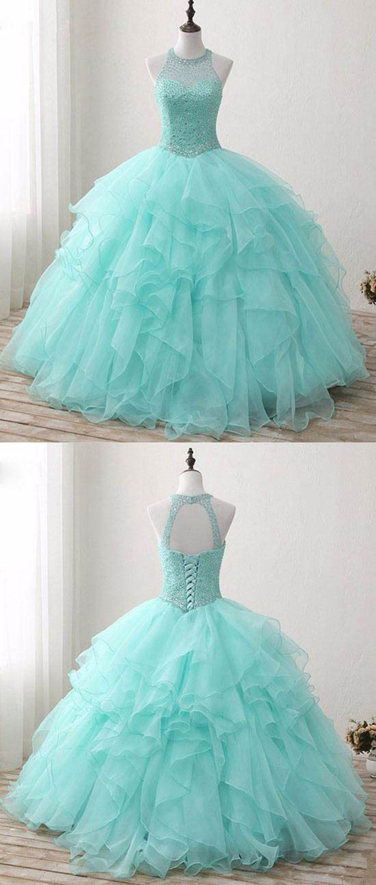 Mint tulle silver beads floor length winter formal prom dress mint