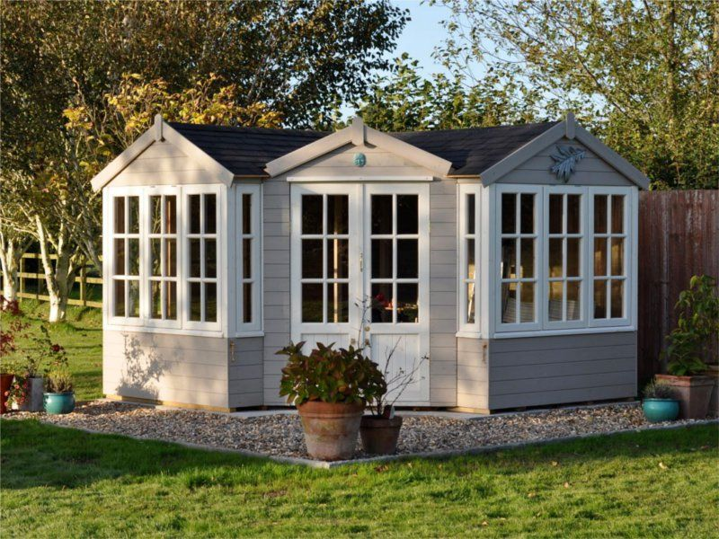 corner summer house log cabin shed garden building garden office
