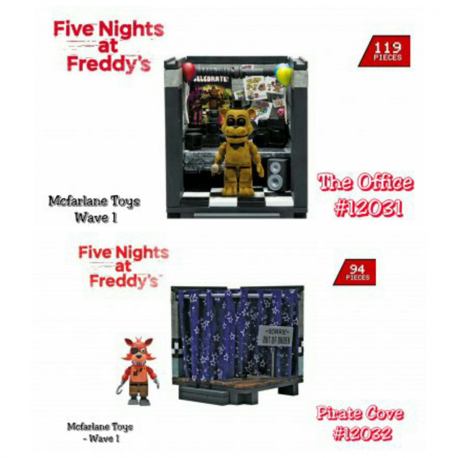 More five nights at freddy s construction sets coming soon - Set Of 2 Five Nights At Freddy S Fnaf Wave 1 Golden Freddy The Office 119 Pieces Foxy Pirate Cove 94 Pieces Mcfarlane Buildable Construction Set