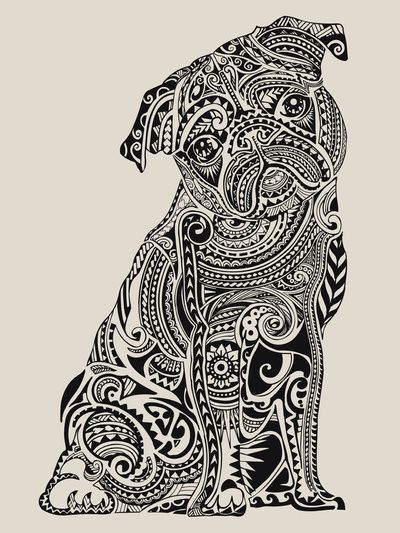 Polynesian Pug Art Print By Huebucket Society6 Pug Art Print Pug Art Dog Coloring Page