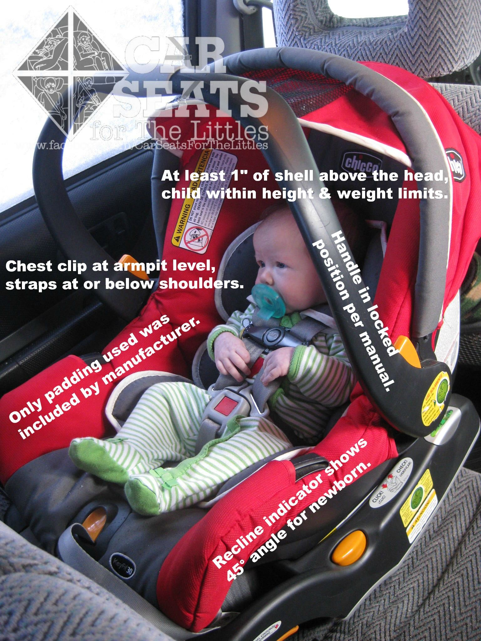 rear facing car seat with handle