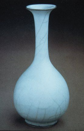 Guan Ware Vase, 13th century CE. From the Southern Song Dynasty: The smooth, harmonious form of the vase against the cracked glaze may symbolize that peace and tranquility is within same body as spontaneity. Erin Cofer