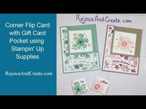 09c7ce986 Corner Flip Card with Gift Card Pocket using Stampin  Up supplies plus  bonus corner bookmark