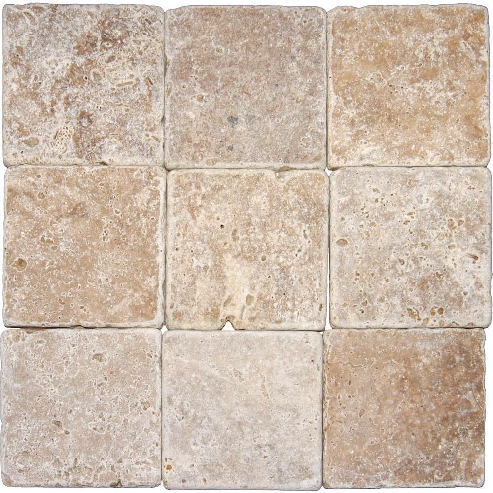 Msi Noche 4 In X 4 In Tumbled Travertine Floor And Wall Tile 1 Sq Ft Case Thdw3 T Nc4x4t The Home Travertine Floors Floor And Wall Tile Wall Tiles