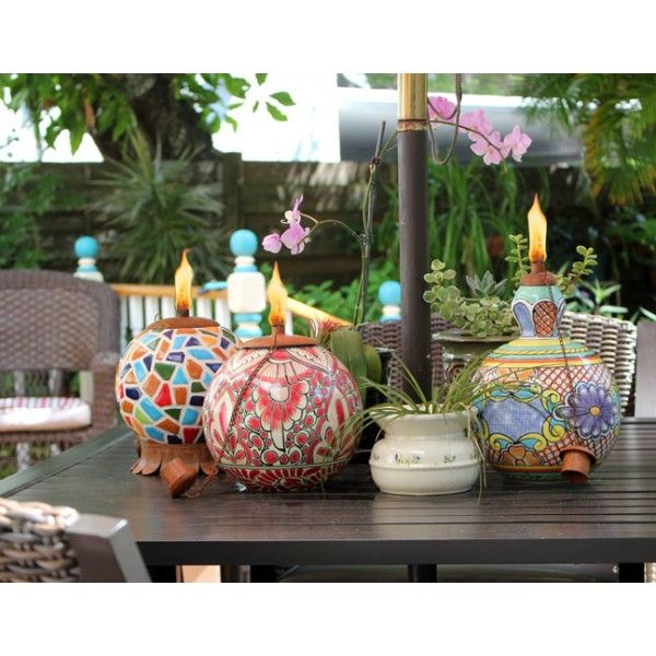 Mexican Pottery Tabletop Tiki Torches From Www.buytikitorches.com