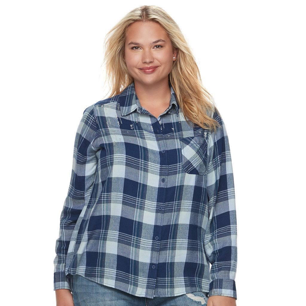 Flannel under shirt  Juniorsu Plus Size MuddPlaid Flannel Shirt Teens Size XL Brt