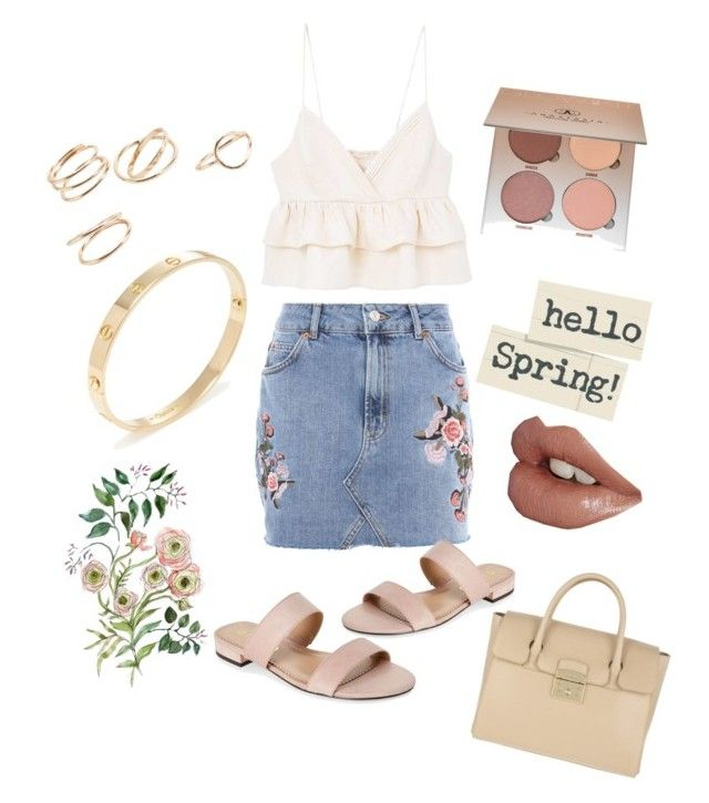 """""""hello spring!!"""" by kyramabell ❤ liked on Polyvore featuring MANGO, Topshop, Unisa, Cartier, Anastasia Beverly Hills and Furla"""