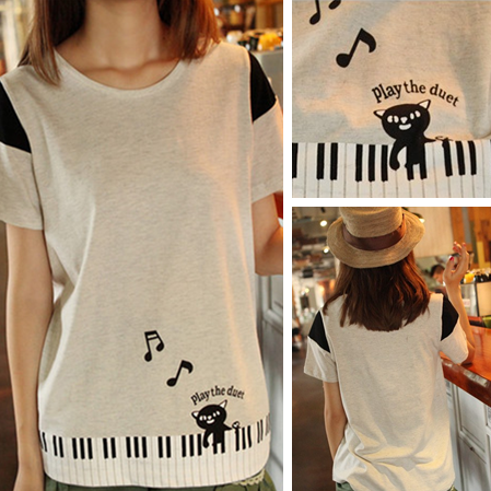 2014 New Summer Women's Preppy Style O-neck Short-sleeve Piano Cat Cotton Casual T-shirt - http://www.styliate.com/products/2014-new-summer-womens-preppy-style-o-neck-short-sleeve-piano-cat-cotton-casual-t-shirt/